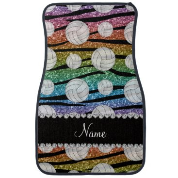Beach Themed Name rainbow glitter zebra stripes volleyballs car floor mat