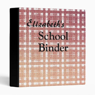 Name + Raspberry Pink Blush Modern Plaid Ombra Binder