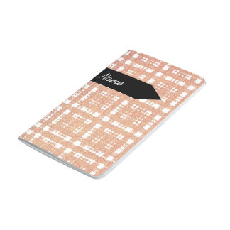 Name + Raspberry Pink Blush Modern Plaid Ombra Journal
