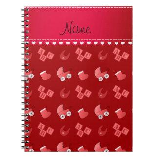 Name red baby bib blocks carriage booties note book