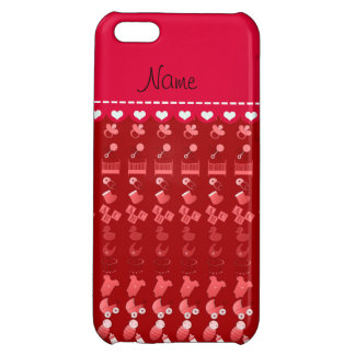 Name red baby bottle rattle pacifier stork iPhone 5C covers