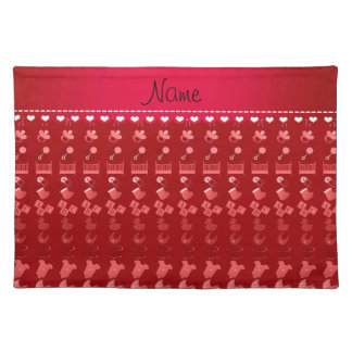 Name red baby bottle rattle pacifier stork placemat