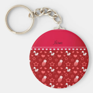 Name red baby stork hearts stars basic round button keychain