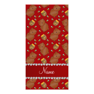 Name red bears honeypots bees pattern photo card