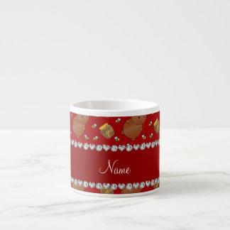 Name red bears honeypots bees pattern espresso mug