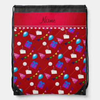Name red birthday bunting cake hat balloons drawstring bag