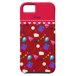Name red birthday bunting cake hat balloons iPhone SE/5/5s case