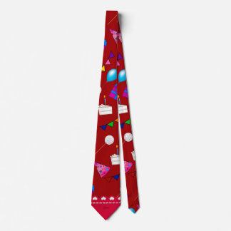 Name red birthday bunting cake hat balloons neck tie