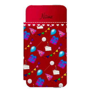 Name red birthday bunting cake hat balloons wallet case for iPhone SE/5/5s
