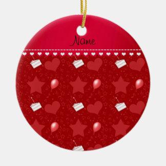 Name red birthday cake balloons hearts stars ceramic ornament