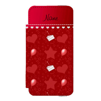 Name red birthday cake balloons hearts stars wallet case for iPhone SE/5/5s