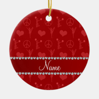 Name red cheerleading hearts peace sign ceramic ornament