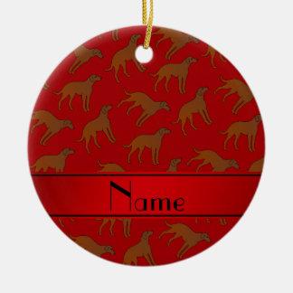 Name red Chesapeake bay retriever dogs Ceramic Ornament