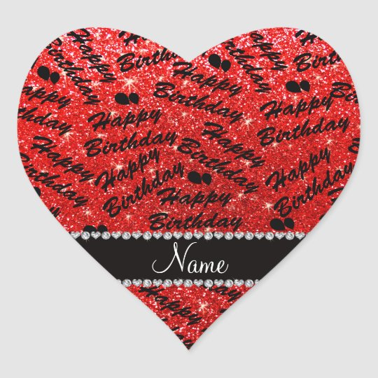 Name Red Glitter Happy Birthday Balloons Heart Sticker