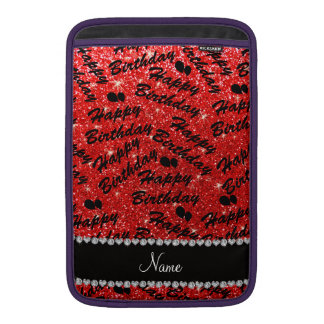 Name red glitter happy birthday balloons sleeve for MacBook air