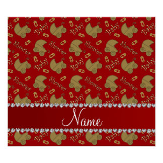 Name red gold baby carriages pins baby shower poster