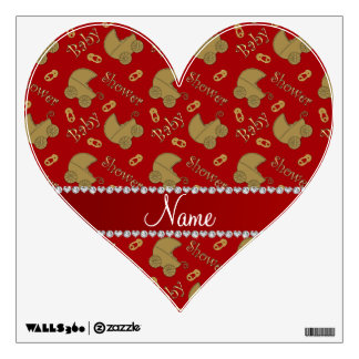 Name red gold baby carriages pins baby shower wall decal