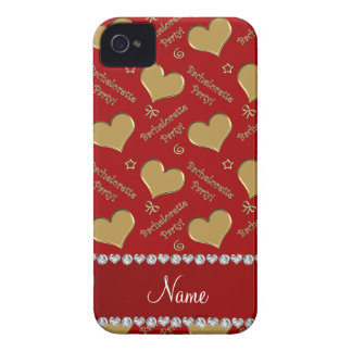 Name red gold hearts bachelorette party iPhone 4 Case-Mate case