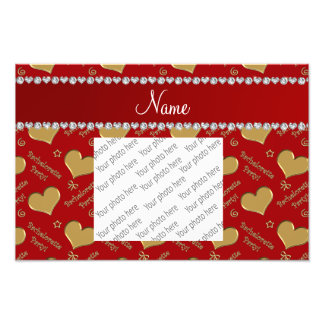Name red gold hearts bachelorette party photo print