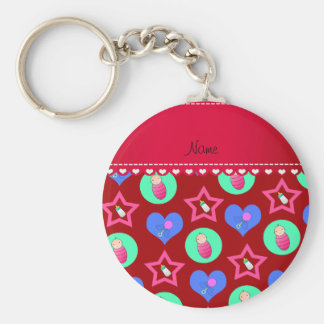 Name red hearts dots stars baby rattle bottle basic round button keychain