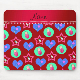 Name red hearts dots stars baby rattle bottle mouse pad