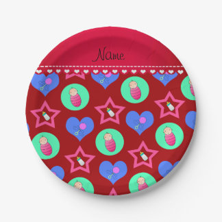 Name red hearts dots stars baby rattle bottle paper plate
