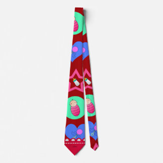 Name red hearts dots stars baby rattle bottle tie