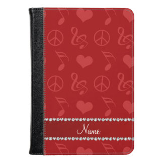 Name red music notes hearts peace sign kindle case