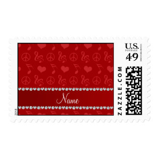 Name red music notes hearts peace sign postage