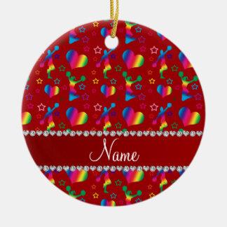Name red rainbow cheerleading hearts stars ceramic ornament