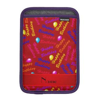 Name red rainbow happy birthday balloons sleeve for iPad mini