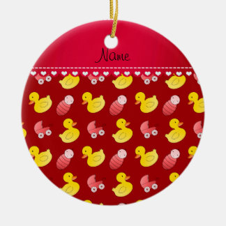 Name red rubberduck baby carriage ceramic ornament