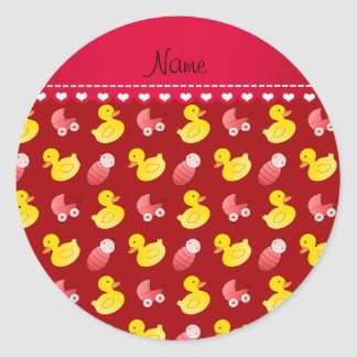 Name red rubberduck baby carriage classic round sticker