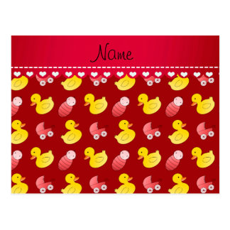 Name red rubberduck baby carriage postcard