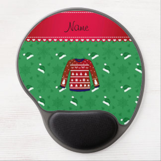Name red ugly christmas sweater green santa hats gel mouse pad