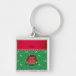 Name red ugly christmas sweater green santa hats Silver-Colored square keychain