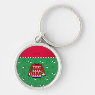 Name red ugly christmas sweater green santa hats Silver-Colored round keychain