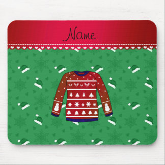 Name red ugly christmas sweater green santa hats mouse pad