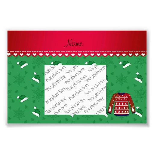 Name red ugly christmas sweater green santa hats photo print