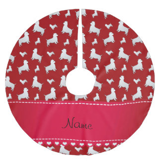 Name red West Highland White Terrier dogs Brushed Polyester Tree Skirt