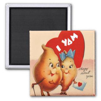 Ñame retro de la tarjeta del día de San Valentín I Imán Cuadrado