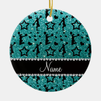 Name robin egg blue glitter stars cheerleading ceramic ornament