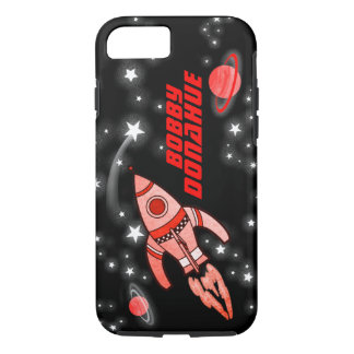 Name rocket space boys black red iphone case