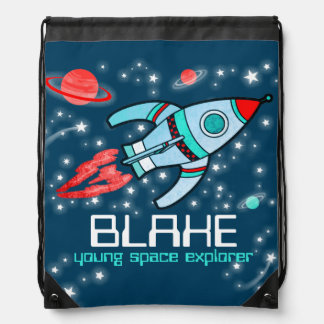 Name rocket space explorer kids drawstring bag
