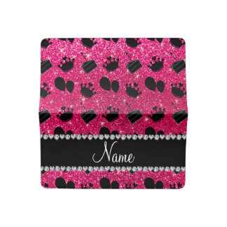 Name rose pink glitter crowns balloons cake checkbook cover