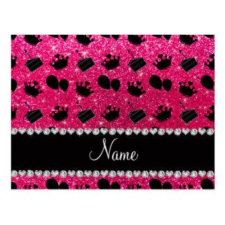 Name rose pink glitter crowns balloons cake postcard