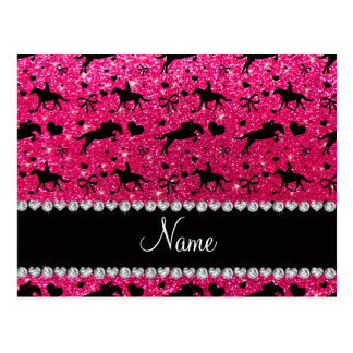 Name rose pink glitter equestrian hearts bows postcard