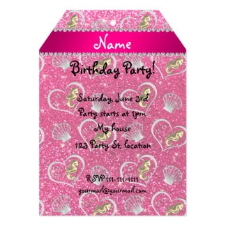 Name rose pink glitter gold seahorses silver shell 5x7 paper invitation card