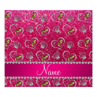 Name rose pink glitter gold seahorses silver shell poster