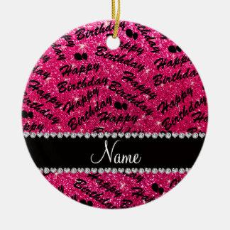 Name rose pink glitter happy birthday balloons ceramic ornament
